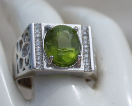 Mens Peridot 4.80ct,White Gold Plated,Solid Sterling Silver Ring