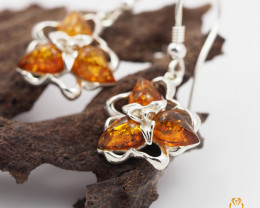 Baltic Amber Tripple  Earring Sale,Sheppard hook s,  Poland  AM  247