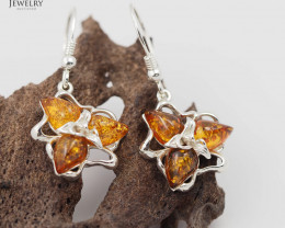 Baltic Amber Tripple  Earring Sale,Sheppard hook s, Poland  AM  248