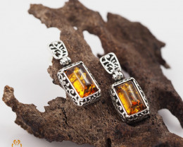 Baltic Amber Rectangular Earring Sale,, direct from Poland  AM 250