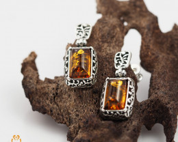 Baltic Amber Rectangular Earring Sale,, direct from Poland  AM 251