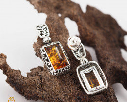 Baltic Amber Rectangular Earring Sale,, direct from Poland  AM 252