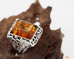Baltic Amber Rectangular Ring size 9  Sale,, direct from Poland  AM 254