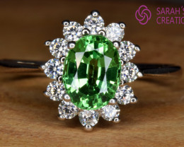 Natural Tsavorite Garnet, CZ and Silver Ring