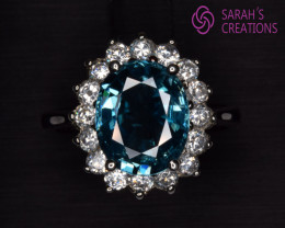 Natural Blue Zircon, CZ and Silver Ring