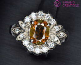 Natural Yellow Sapphire, CZ and  Silver Ring