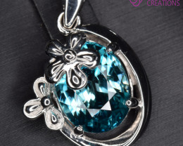 Natural Blue Zircon and Silver Pendant