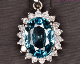 Natural Blue Zircon, CZ and Silver Pendant
