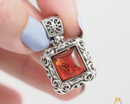 Baltic Amber Sale,Pendant rectangular , direct from Poland  AM 268