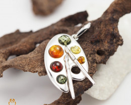 Baltic Amber Sale,Artists Palette Pendant  , direct from Poland  AM 273