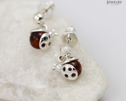Baltic Amber Sale,Cute Beetle Bug  Earrings  , direct from Poland  AM 278