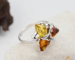 Baltic Amber Sale,Flower Multi Ring , direct from Poland  AM 286