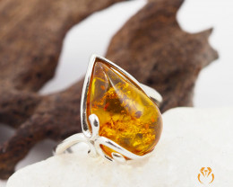 Baltic Amber Sale,freeform flow Ring , direct from Poland  AM 289