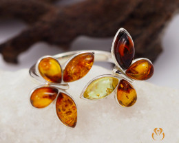 Adjustable Baltic Amber Sale, Cluster Ring , direct from Poland  AM1294