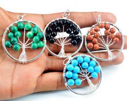 Multicolor Mix Gemstone Tree Pendant Lot