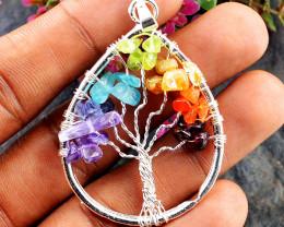 Pear Shape Seven Chakra Tree Pendant