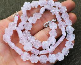 Pink Rose Quartz Flower Carved Beads Necklace