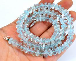Single Strand Blue Aquamarine Beads Necklace