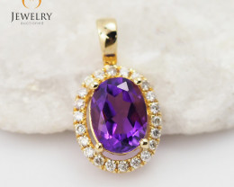 14 K Yellow Gold Amethyst & Diamond Pendant P8886 YELLOW