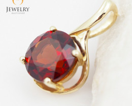 cute 14 K Yellow Gold Garnet Pendant P11939