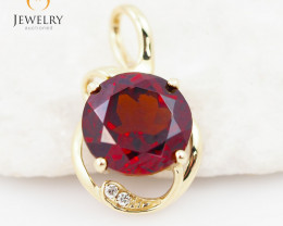 14 K Yellow Gold Garnet & Diamond Pendant P11933