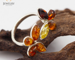 Baltic Amber Sale, Cluster Ring , direct from Poland  AM 303