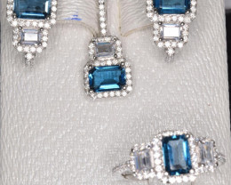 Natural Blue Topaz Silver Jewelry Set