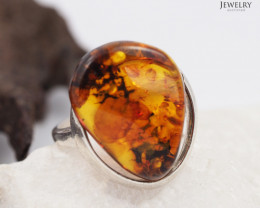 Baltic Amber Sale, Silver Ring size 7 , direct from Poland  AM 335