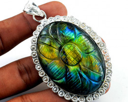 Blue & Golden Flash Labradorite Carved Pendant