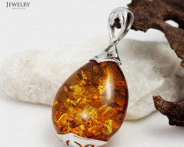 Baltic Amber Sale, Silver Pendants  , direct from Poland  AM 337