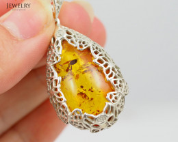Baltic Amber Sale, Silver Pendants  , direct from Poland  AM 345