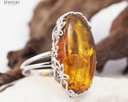 Baltic Amber Sale, Silver Ring Adustable   , direct from Poland  AM 346