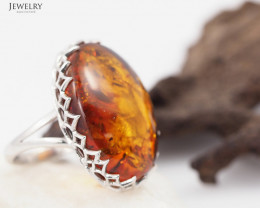 Baltic Amber Sale, Silver Ring size 7  , direct from Poland  AM 832