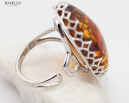 Baltic Amber Sale, Silver Ring Adustable  , direct from Poland  AM 348