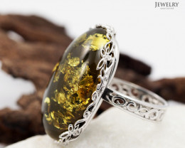 Baltic Amber Sale, Silver Ring Adustable size   , direct from Poland  AM353