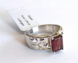 Garnet 925 Sterling silver filigree ring #041