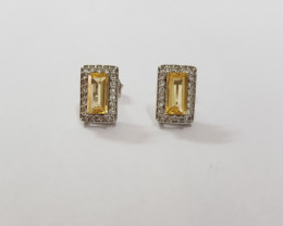 Citrine 925 Sterling silver earrings #7767