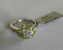 Peridot ring 925 sterling silver #371