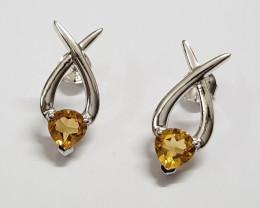 Citrine 925 Sterling silver earring #33410