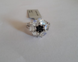 Moonstone 925 Sterling silver ring #322 with black spinel