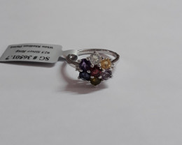 Multi gemstone 925 Sterling silver ring #501