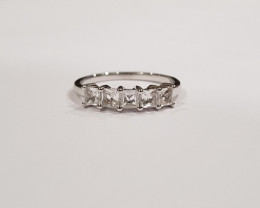 White topaz Princess cut Square 925 Sterling silver ring #583