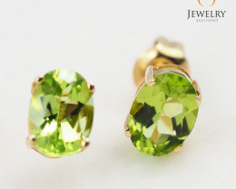 14 K Yellow Gold Peridot Earring - 17 - E9740