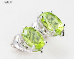 14 K White Gold Peridot Earring E11391