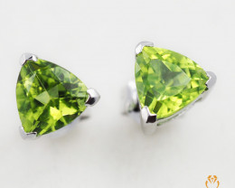 14 K White Gold Peridot Earring E3498