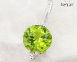 18 K White Gold Peridot & Diamond Pendant P3727 WHITE P