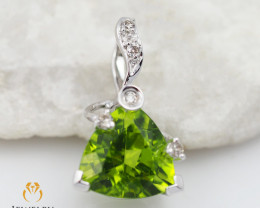18 K White Gold Peridot & Diamond Pendant P5643