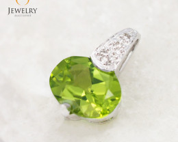 18 K White Gold Peridot & Diamond Pendant P5587