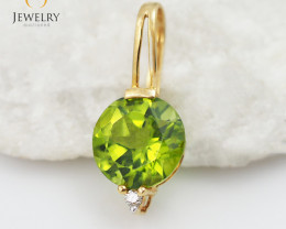 18 K Yellow Gold Peridot & Diamond Pendant P3727 YELLOW P