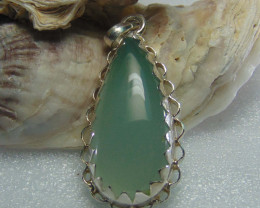 Agate pendent ~ antique stone~ fantasy silver designs 53.90cts